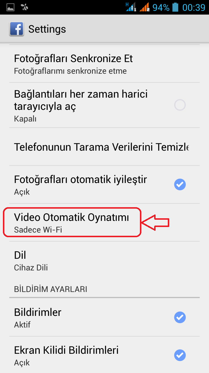 facebook otomatik video oynatma kapatma android (3)