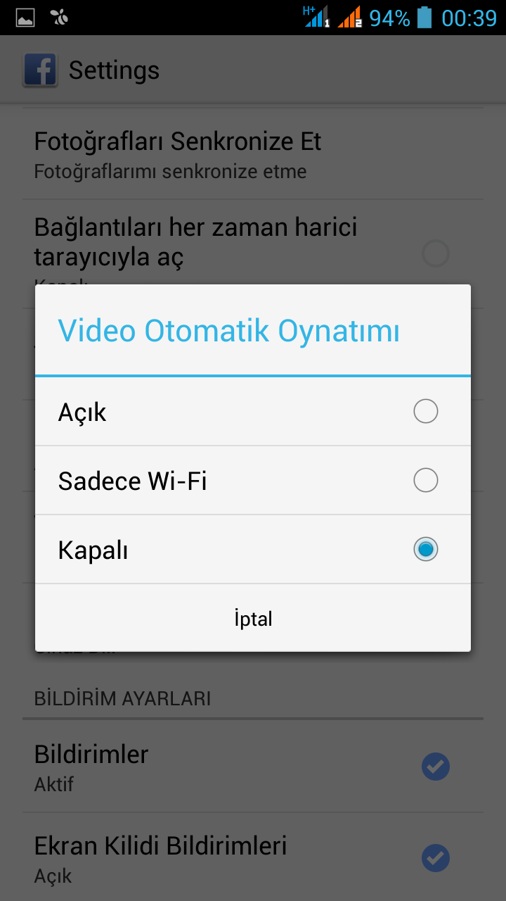 facebook otomatik video oynatma kapatma android (5)