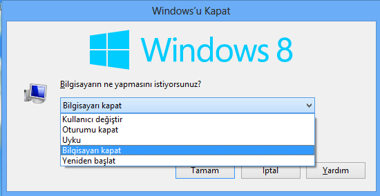 windows 8.1 kapatma tuşu