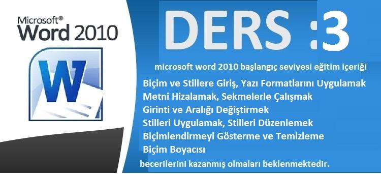 microsoft word 2010 başlangıç seviyesi eğitim ders 3