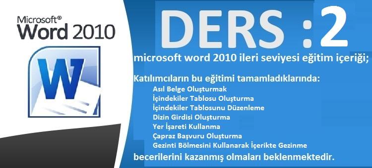 microsoft word 2010 ileri seviyesi eğitim ders 2